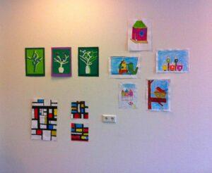 Expositie werkstukken van de kinderen van het Kunstatelier